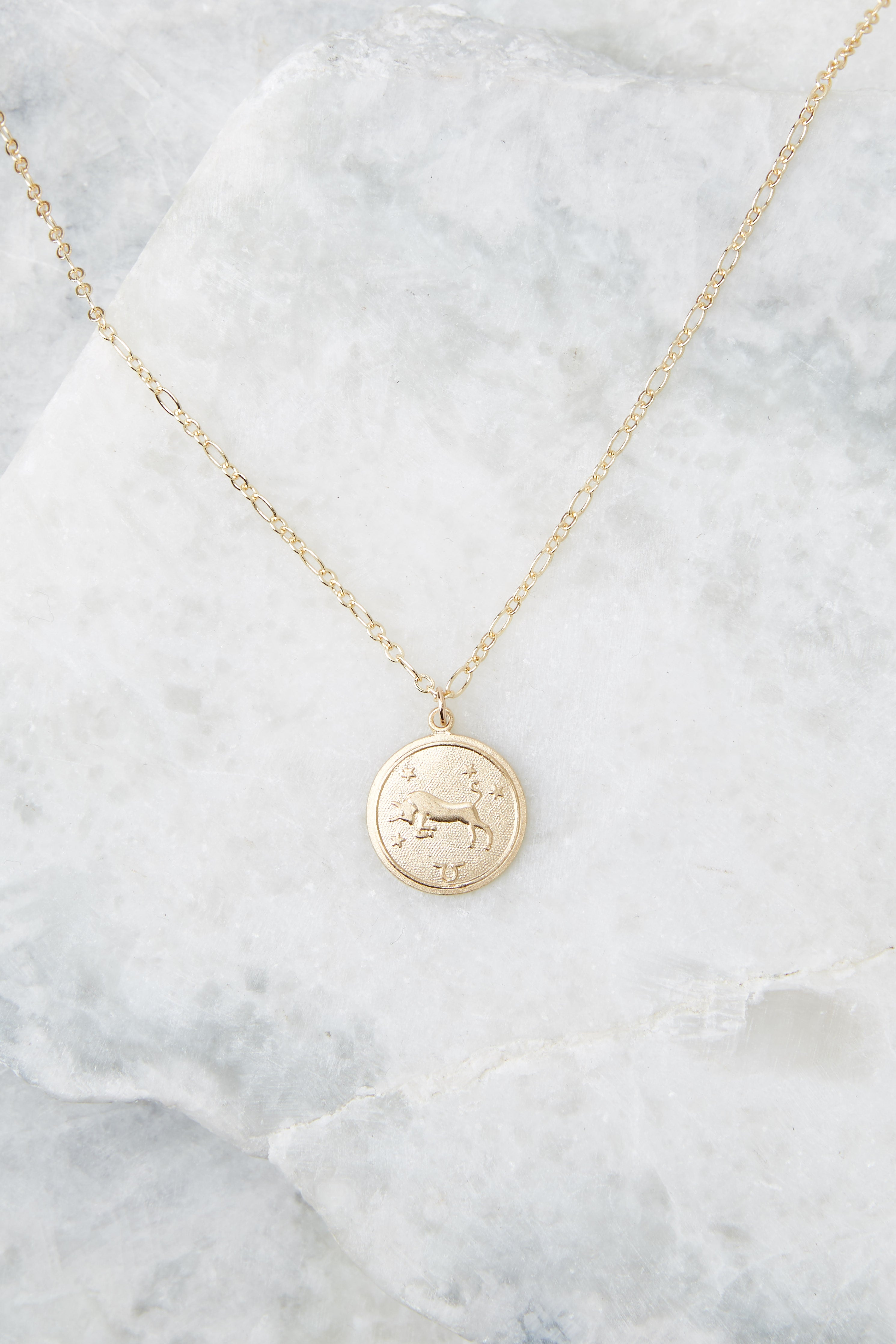 1 Taurus Gold Astrological Necklace at reddress.com