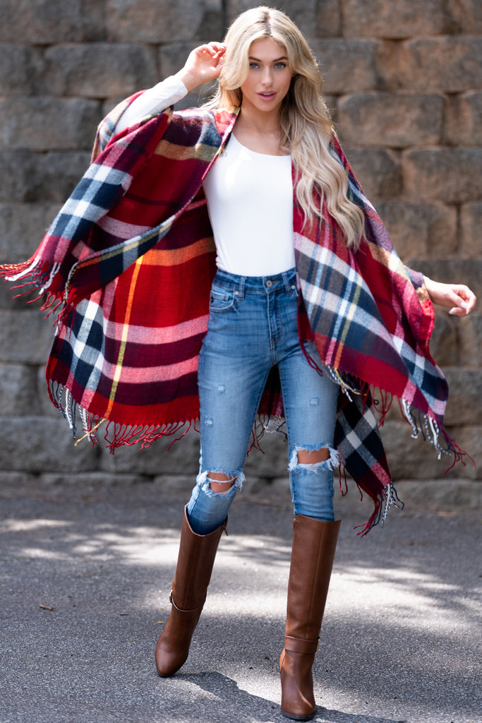 1 Harvest Moon Red Multi Plaid Poncho Cardigan at reddress.com