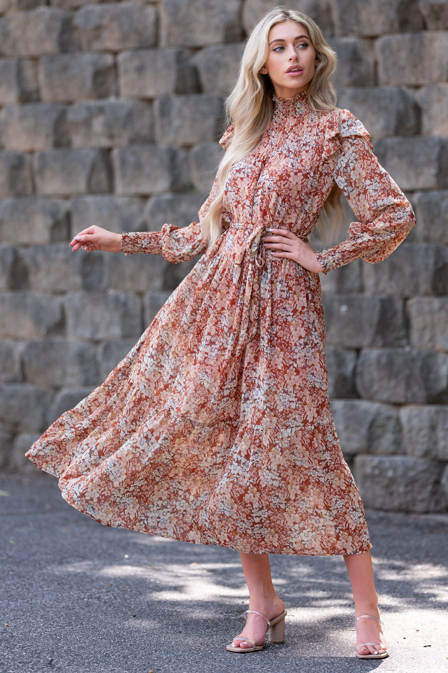 70s Dresses – Disco Dress, Hippie Dress, Wrap Dress Autumns Breeze Rust Floral Print Maxi Dress Red $66.00 AT vintagedancer.com