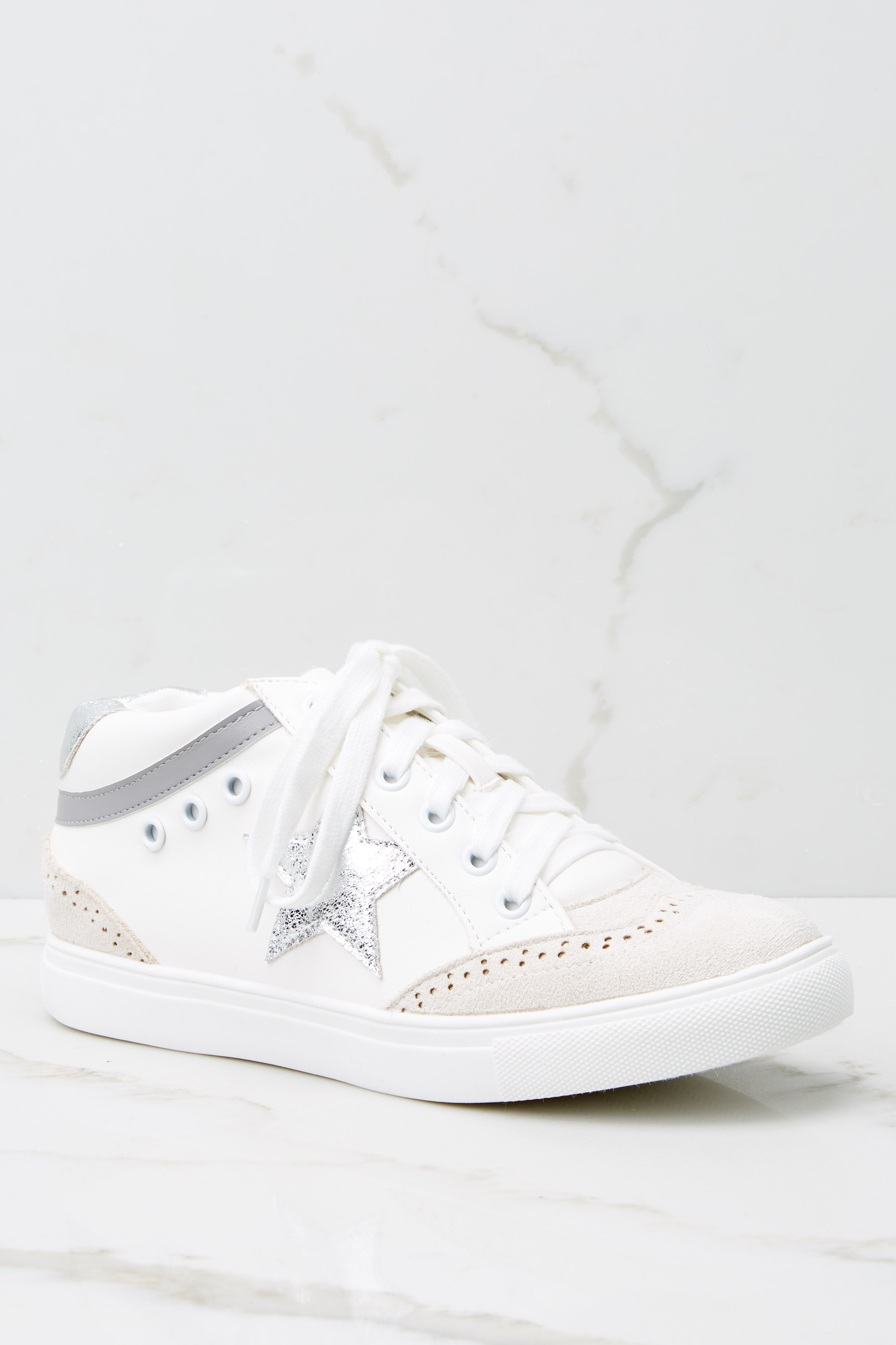 3 Jump Around White And Silver Mid-Top Sneakers at reddress.com