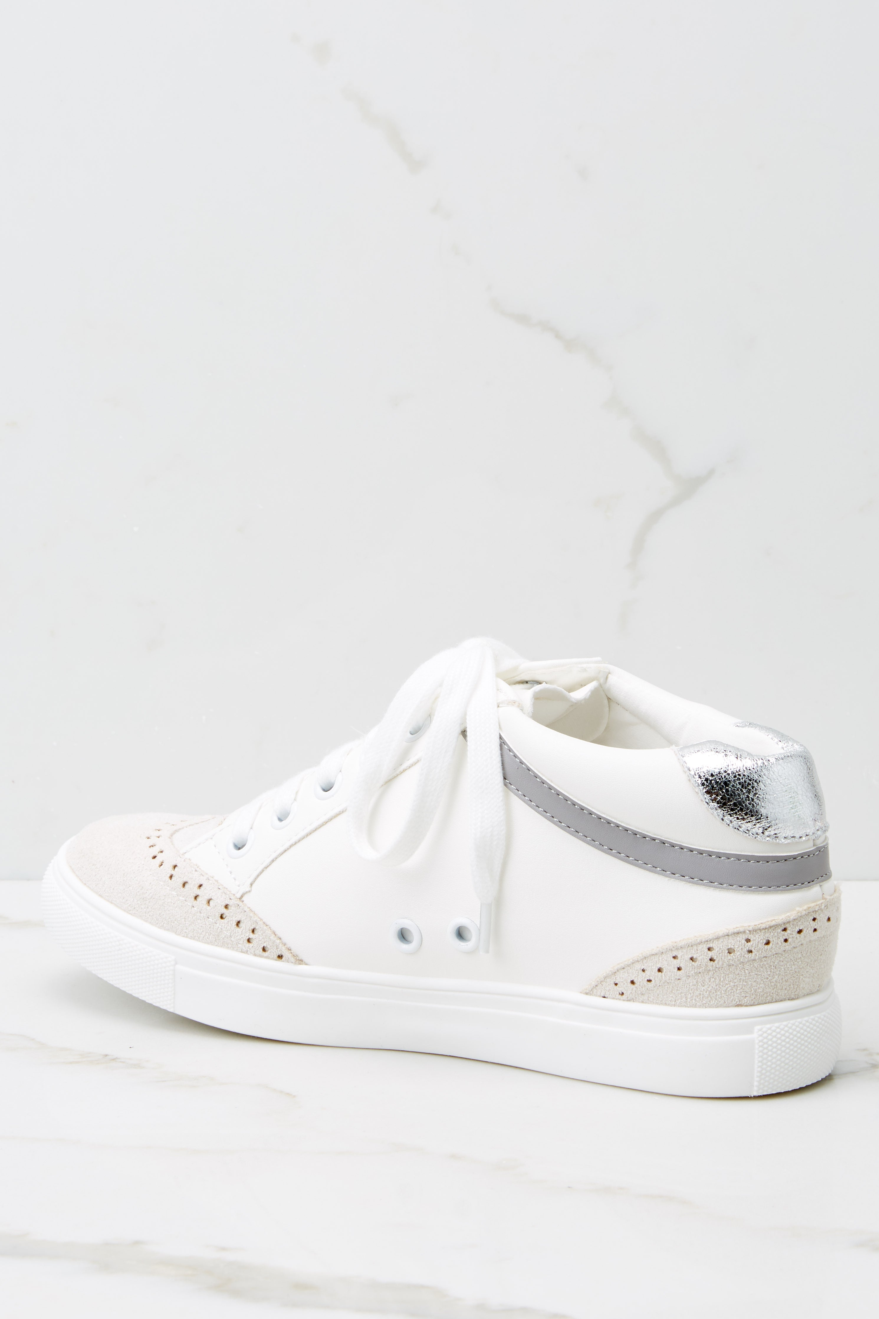 5 Jump Around White And Silver Mid-Top Sneakers at reddress.com