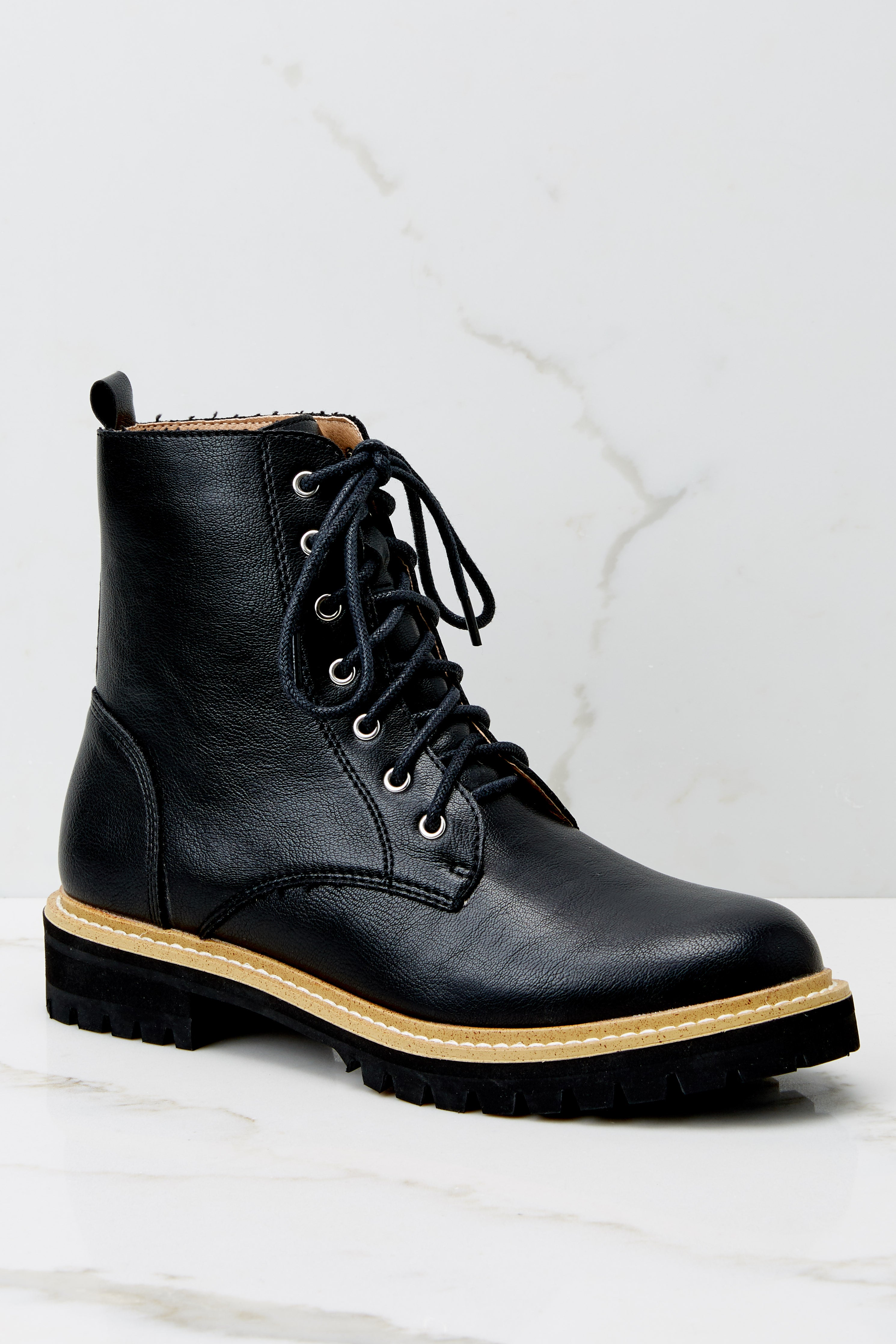 3 Worth It Every Time Black Lace Up Boots (BACKORDER JANUARY) at reddress.com