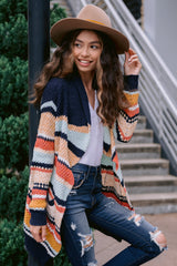 2 Denali Sunset Navy Multi Knit Cardigan at reddress.com