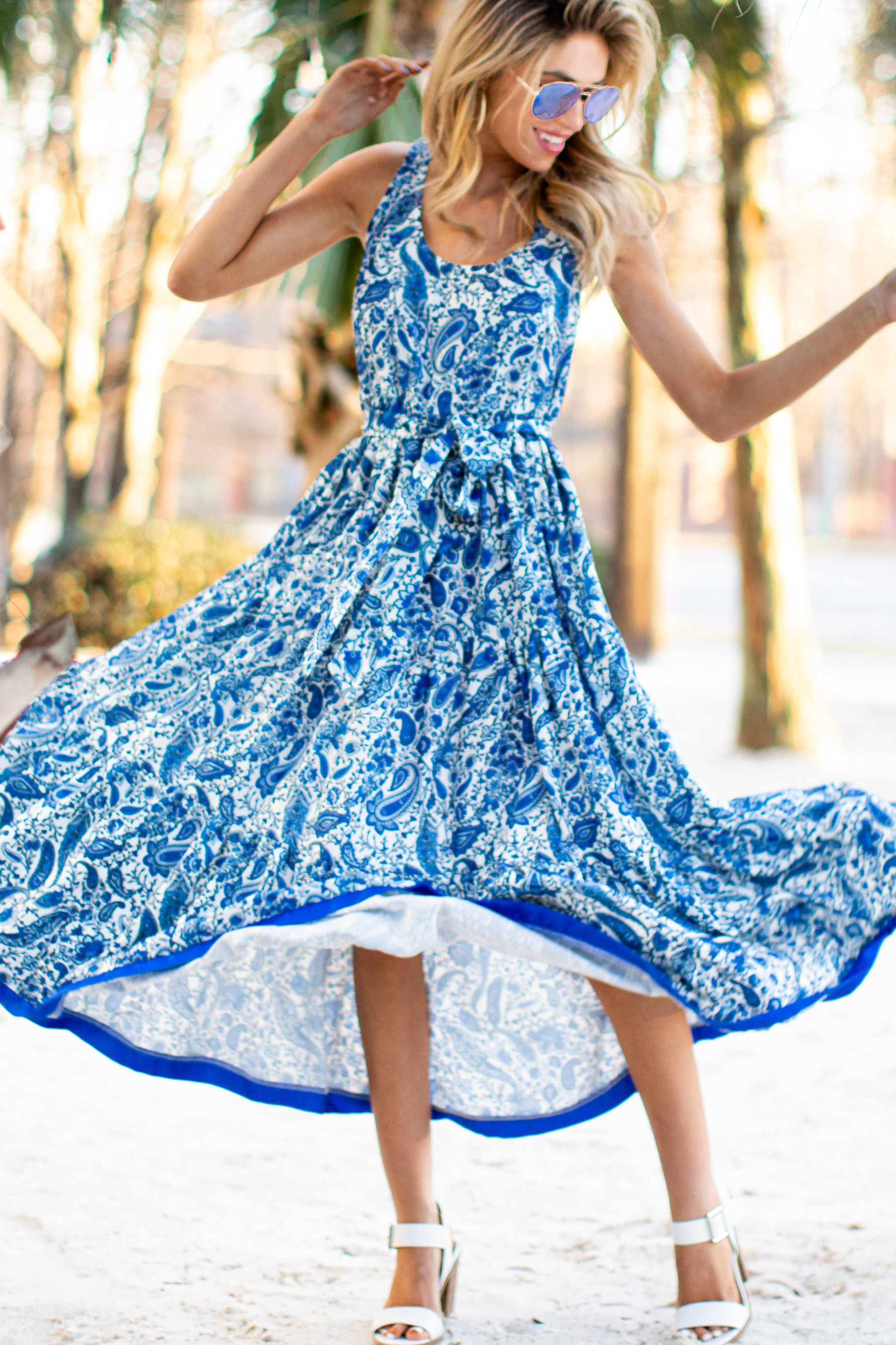 Noticing You Blue Multi Print Maxi Dress