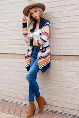 3 Denali Sunset Navy Multi Knit Cardigan at reddress.com