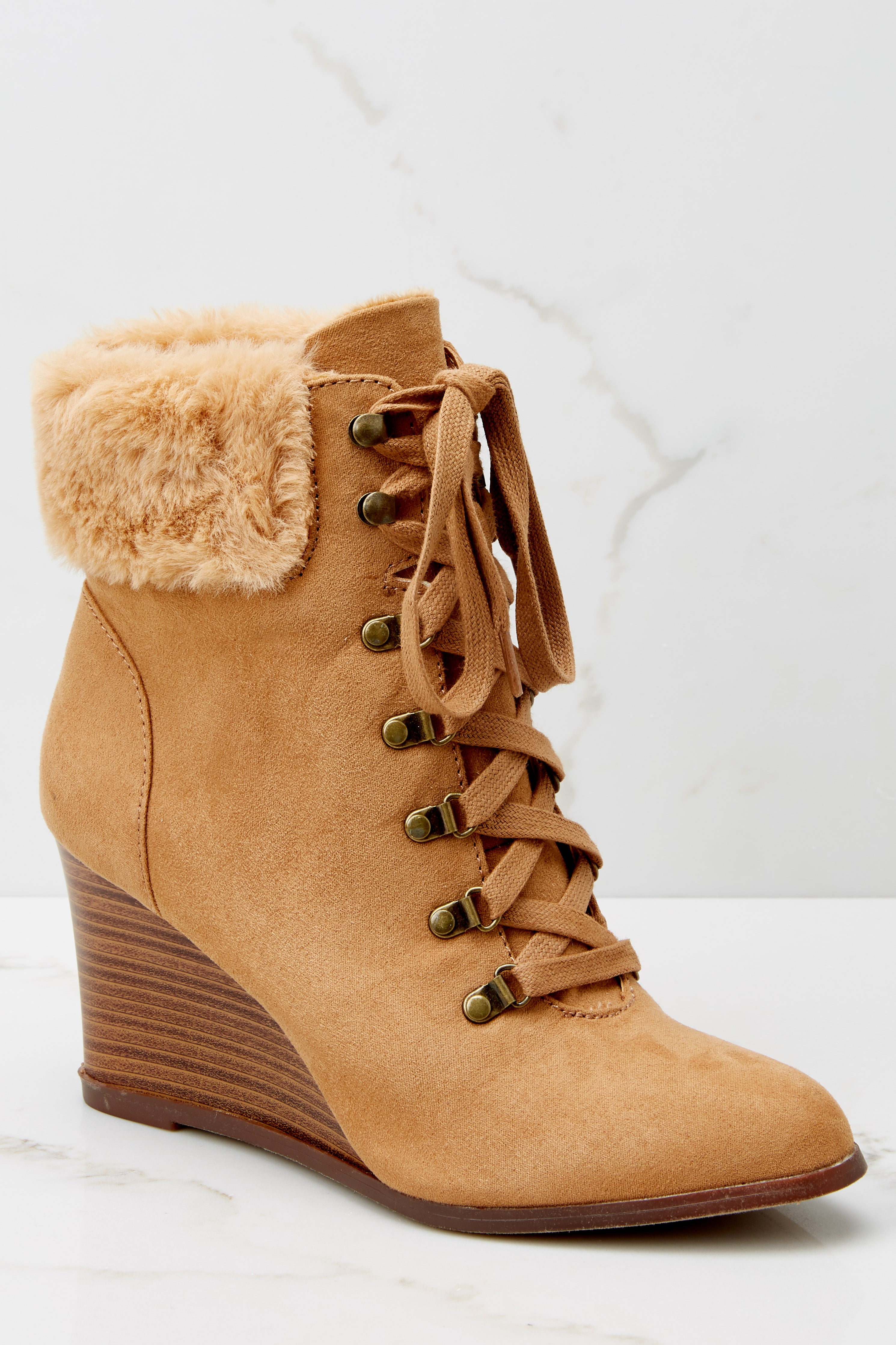 5 A New Way Tan Lace Up Wedge Booties at reddress.com