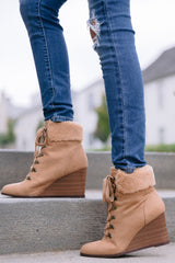 1 A New Way Tan Lace Up Wedge Booties at reddress.com