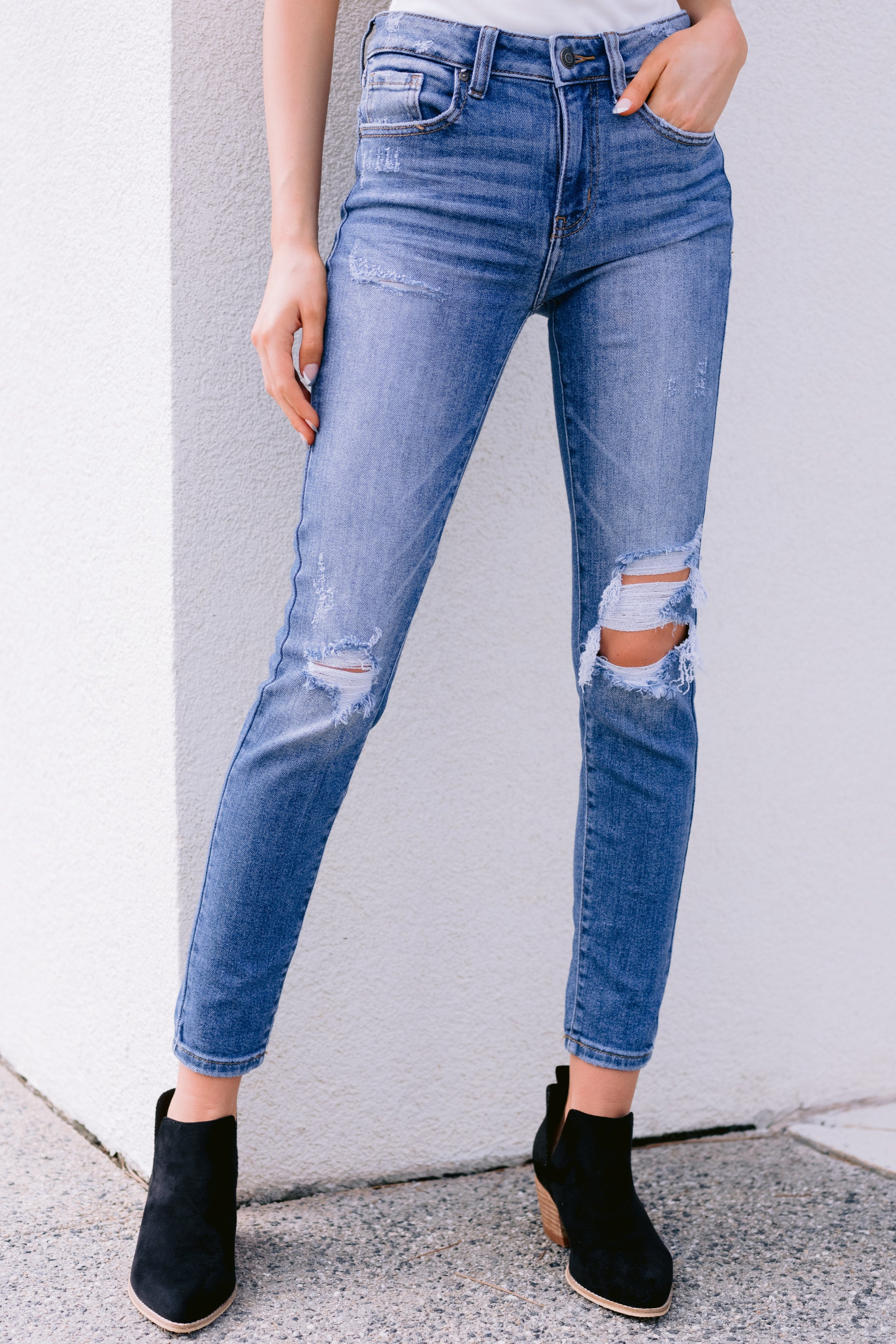 3 In Action Medium Wash Distressed Skinny Jeans at reddress.com