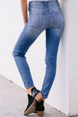 4 In Action Medium Wash Distressed Skinny Jeans at reddress.com