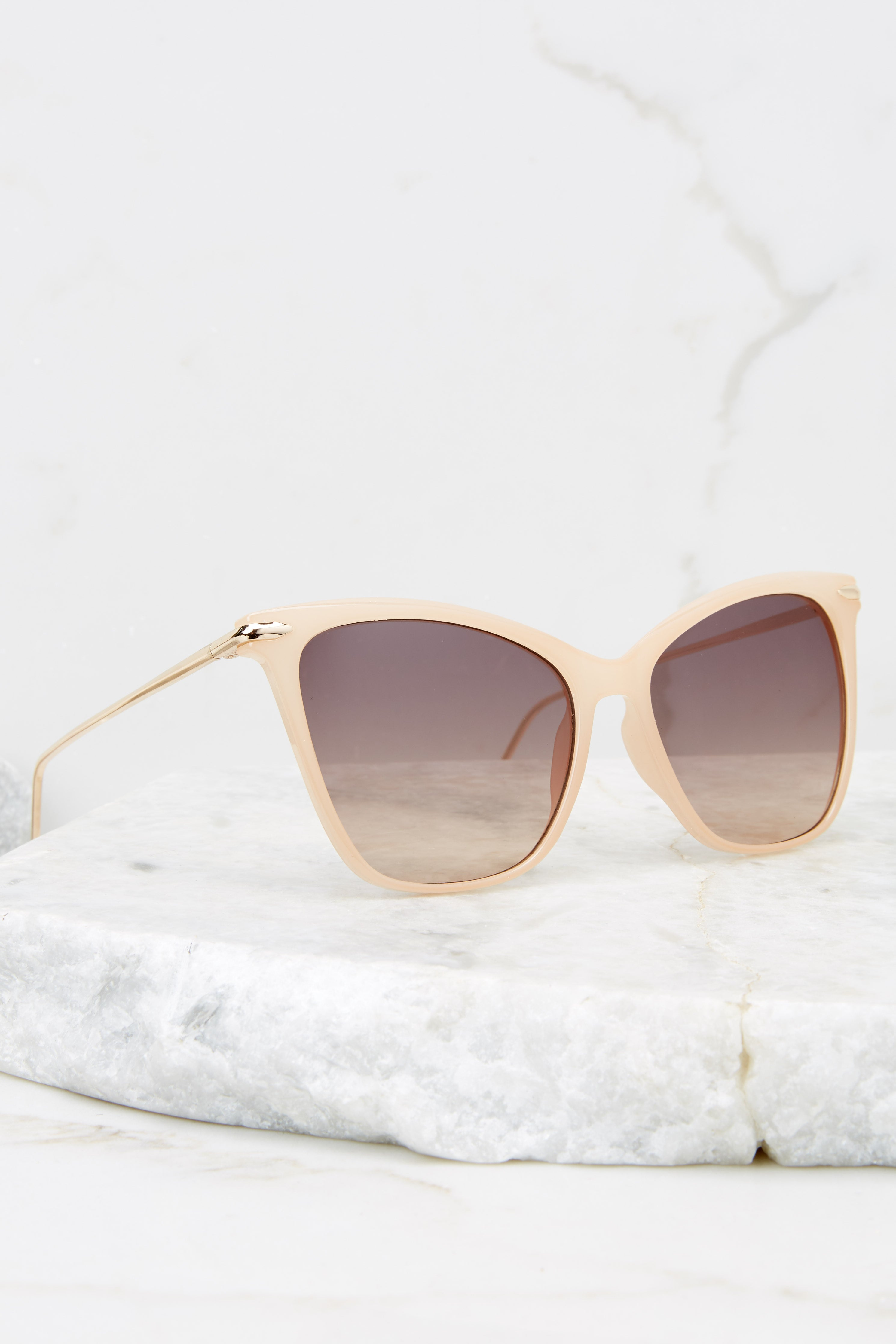 3 Glamorous Glance Beige Brown Fade Sunglasses at reddress.com