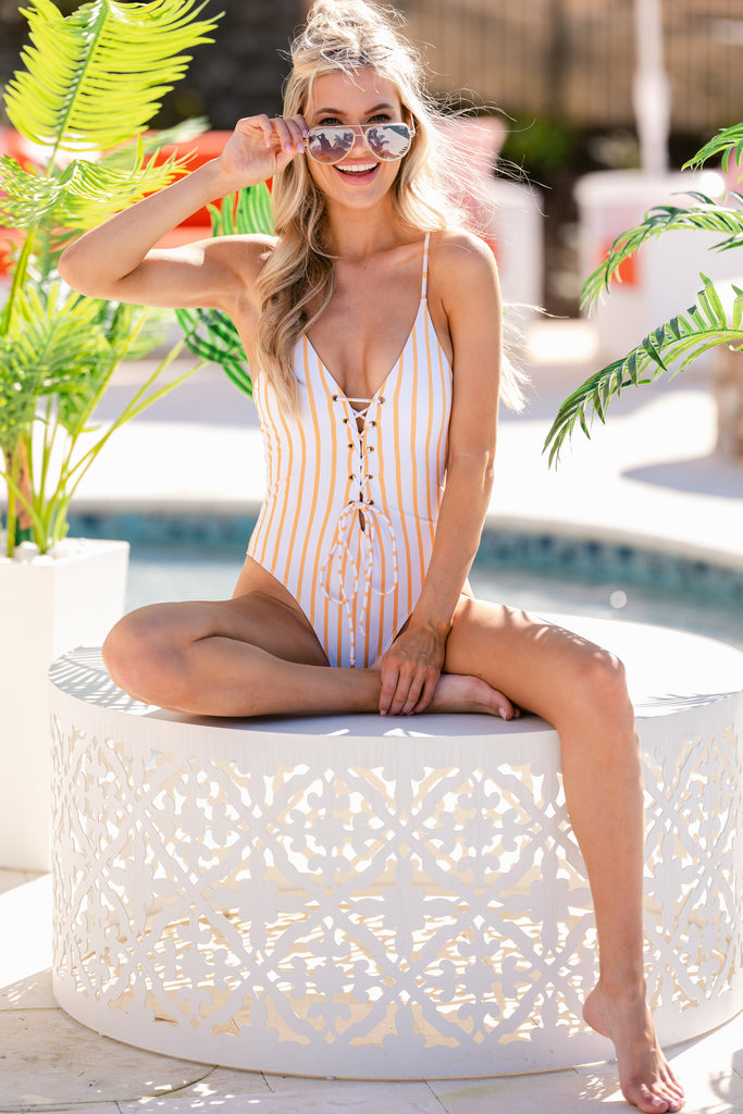 1 Tropical Sunrise Peach Palm Print One Piece Swimsuit at reddress.com
