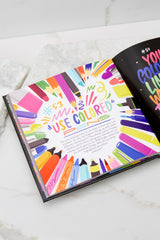 2 Live Life Colorfully Book at Red Dress