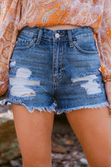 1 No Time To Waste Medium Wash Distressed Denim Shorts at reddress.com