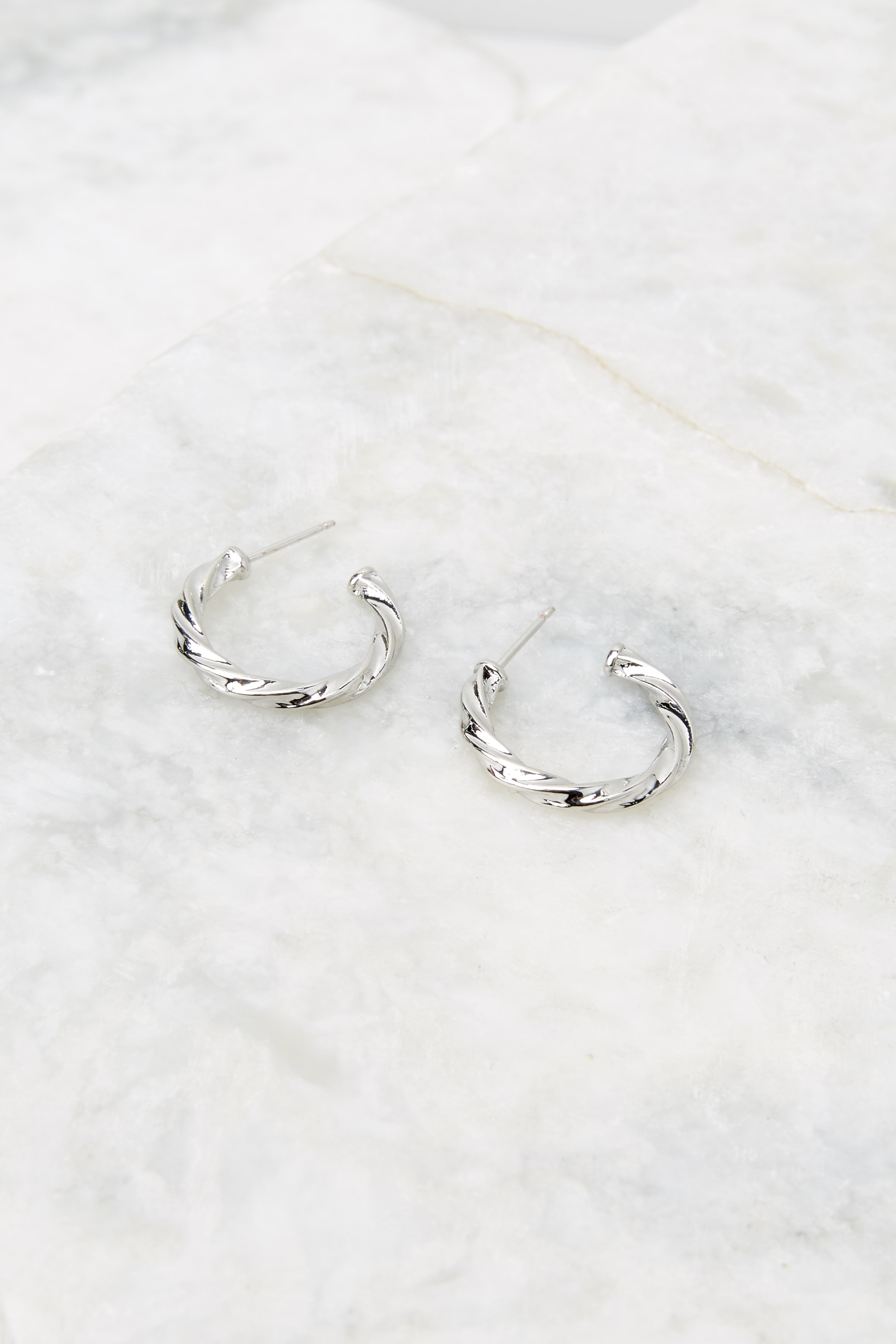 3 Let Them Stare White Gold Small Hoops at reddress.com