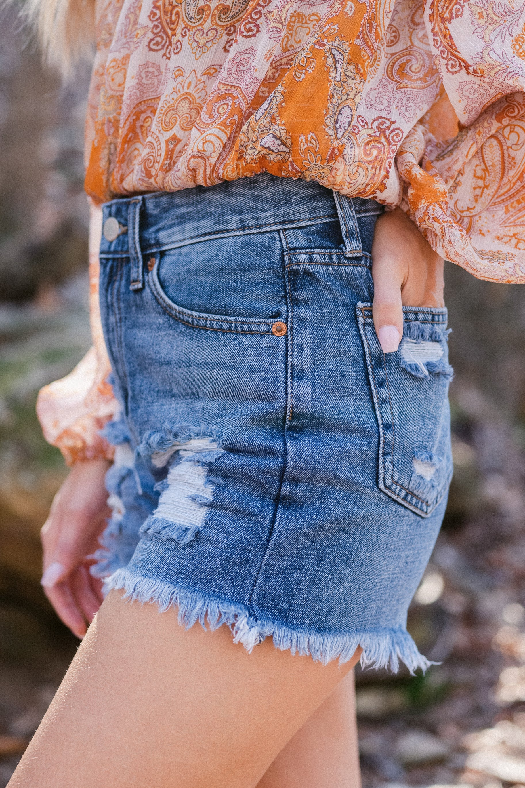 2 No Time To Waste Medium Wash Distressed Denim Shorts at reddress.com