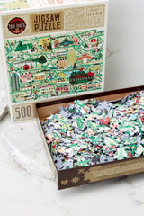 3 Classic Christmas Movie Map Jigsaw Puzzle at reddress.com