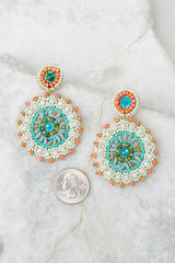 3 Florence Mint And Peach Beaded Earrings at reddress.com