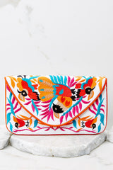 2 Ready To Fly White Multi Embroidered Clutch at reddress.com