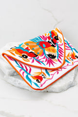3 Ready To Fly White Multi Embroidered Clutch at reddress.com