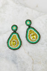 2 Holy Guacamole Green Beaded Earrings at reddress.com