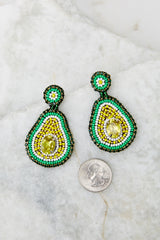 3 Holy Guacamole Green Beaded Earrings at reddress.com