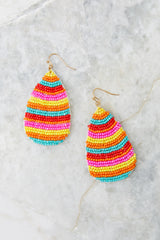 2 Droplet Of Color Pink Multi Beaded Earrings at reddress.com
