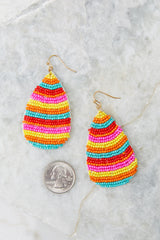 3 Droplet Of Color Pink Multi Beaded Earrings at reddress.com