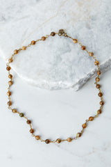 Raw And Rebellious New Infatuation Brown Beaded Necklace at reddressboutique.com