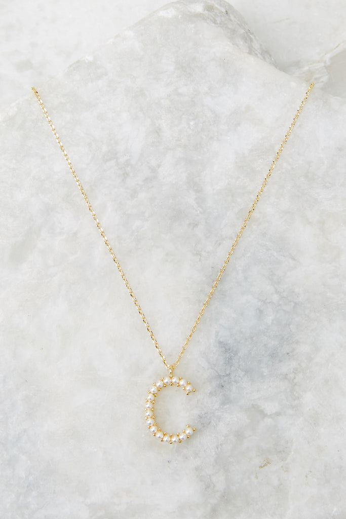 My Love Initial C Pearl And Gold Necklace