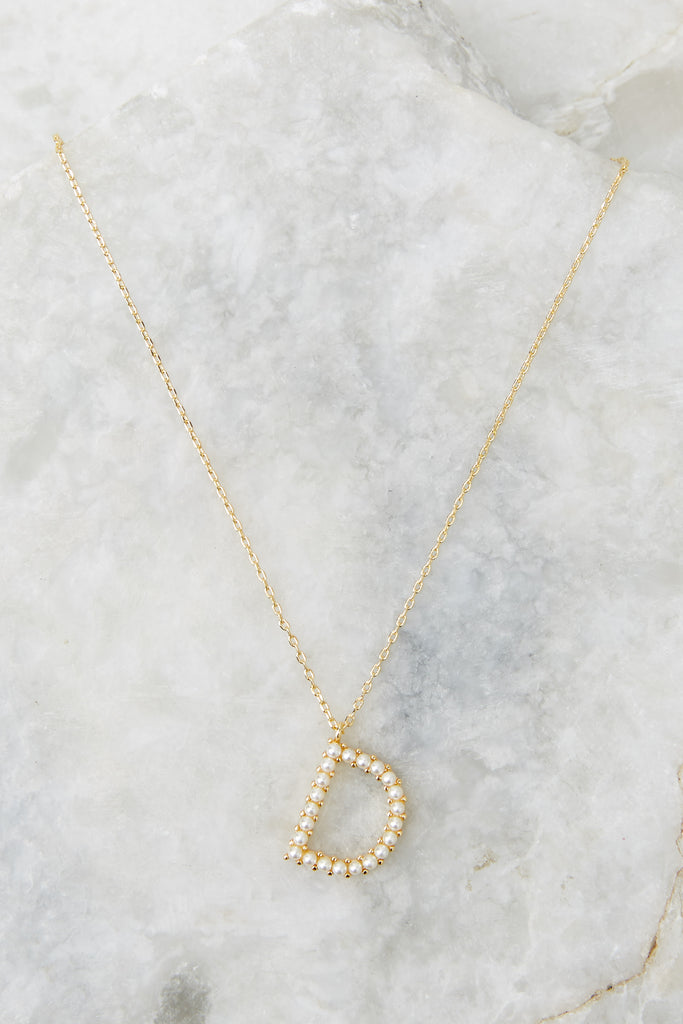 My Love Initial D Pearl And Gold Necklace