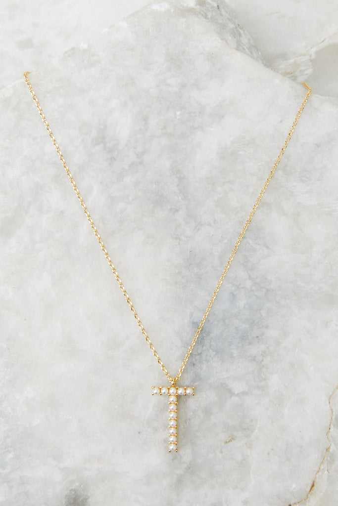My Love Initial T Pearl And Gold Necklace