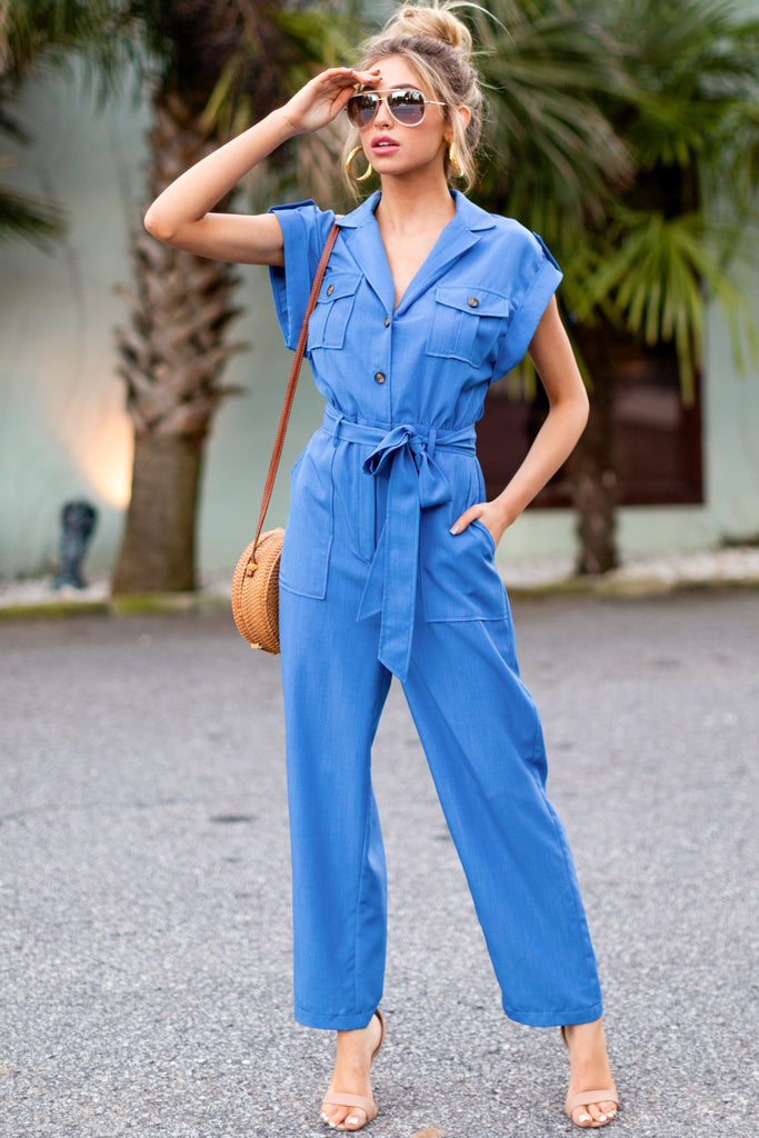 1 Never Disappointed Light Blue Snake Print Jumpsuit at reddress.com