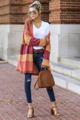 1 Make Your Mind Up Orange Multi Stripe Cardigan at reddress.com