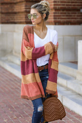 3 Make Your Mind Up Orange Multi Stripe Cardigan at reddress.com