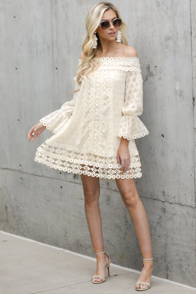 2 Tea With You Ivory Lace Off The Shoulder Dress at reddressboutique.com