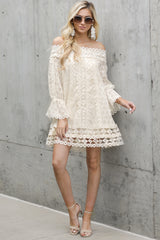 1 Tea With You Ivory Lace Off The Shoulder Dress at reddressboutique.com