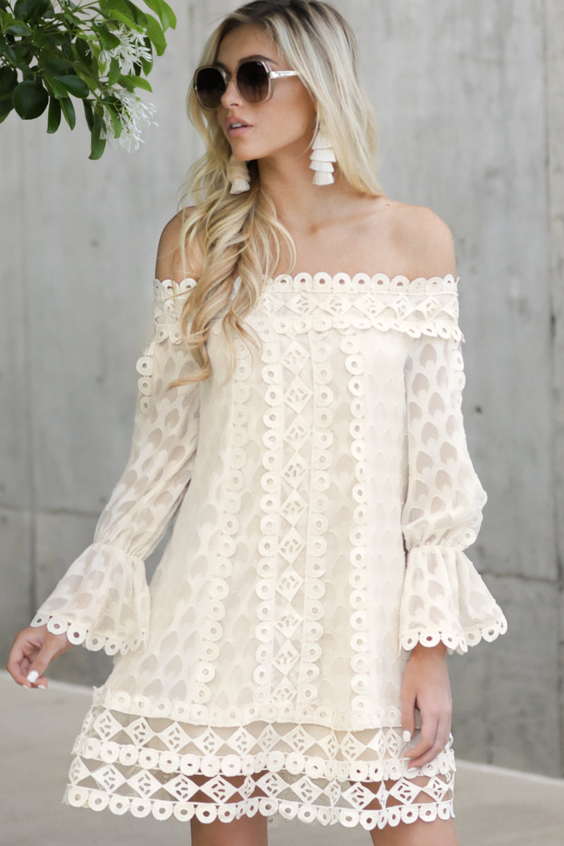 3 Tea With You Ivory Lace Off The Shoulder Dress at reddressboutique.com