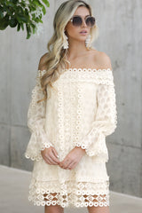 5 Tea With You Ivory Lace Off The Shoulder Dress at reddressboutique.com