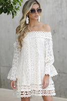 Long Sleeves Off the Shoulder Lace Trim Dress