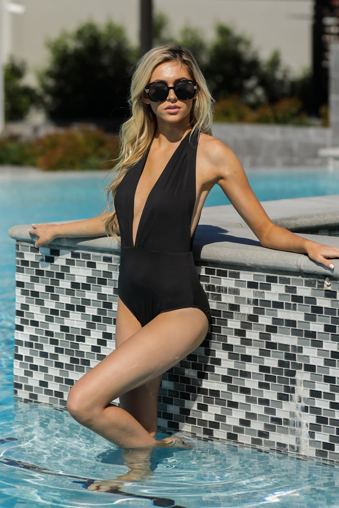 1 À La Plage Black One Piece Swimsuit at reddress.com