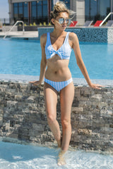 8 Surf's Up Light Blue Stripe Bikini Top at reddressboutique.com
