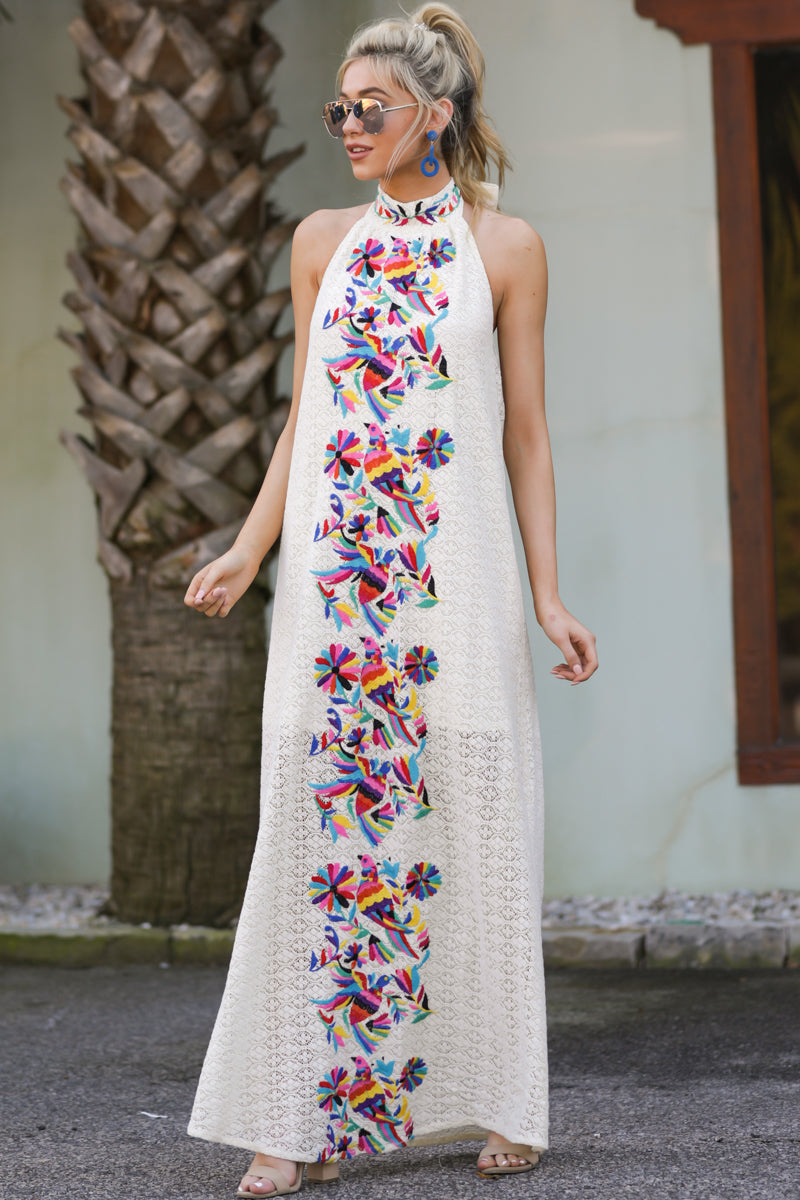 2 Flock To It Cream Embroidered Maxi Dress at reddressboutique.com