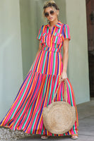 Polyester Short Sleeves Sleeves Striped Print Dropped Waistline Belted Gathered Pocketed Collared Shirt Maxi Dress