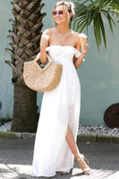 Sweetheart Shirred Slit Off the Shoulder Maxi Dress With Ruffles