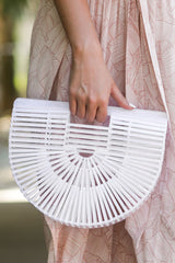 8 Up Your Style White Bamboo Bag at reddressboutique.com
