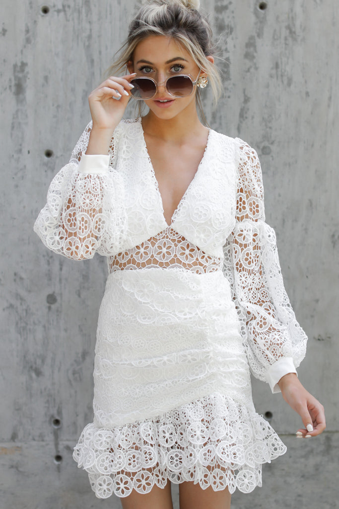 1 Redefine Graceful White Lace Dress at reddressboutique.com