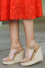 1 Teetering In The Unknown Beige Platform Wedges at reddressboutique.com