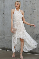 1 Strive For It White Lace High-Low Dress at reddressboutique.com
