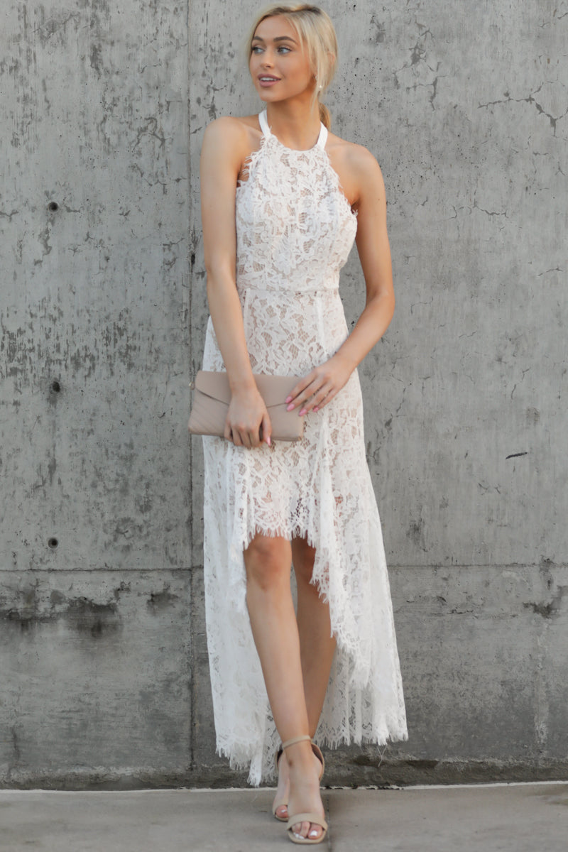 3 Strive For It White Lace High-Low Dress at reddressboutique.com