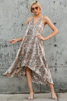 V-neck Polyester High-Low-Hem Animal Snake Print Open-Back Halter Dress